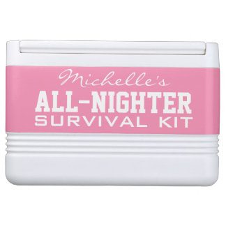 All-Nighter Survival custom name & color cooler Igloo Cooler