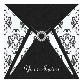 All Occasion Black Damask Party 13 Cm X 13 Cm Square Invitation Card