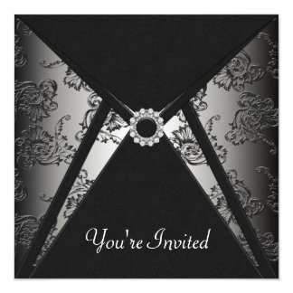 All Occasion Black Damask Party Template 13 Cm X 13 Cm Square Invitation Card