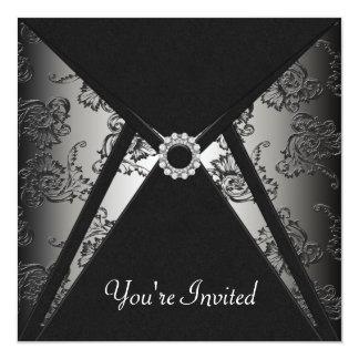 All Occasion Black Damask Party Template 13 Cm X 13 Cm Square Invitation Card