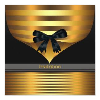 """All Occasion Black Gold Party 5.25"""" Square Invitation Card"""