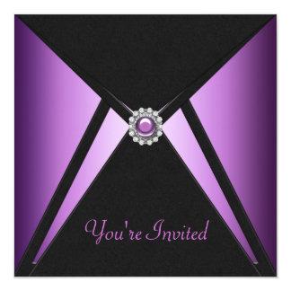 """All Occasion Black Purple Party Invitations 5.25"""" Square Invitation Card"""