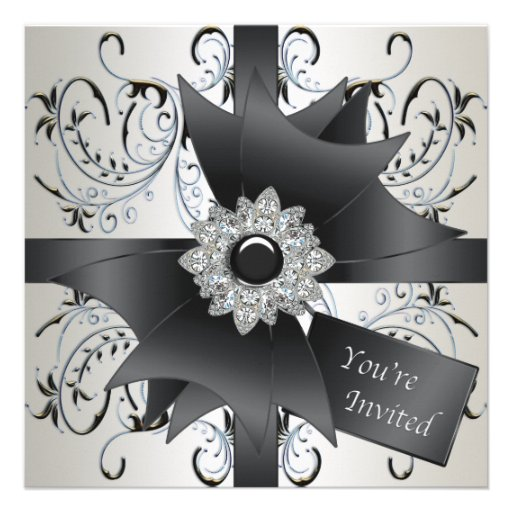 All Occasion Ivory Blue Black Party Invitation