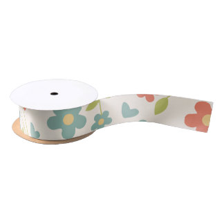 All-Occasion Red, Aqua, Yellow, Green Tiny Flowers Satin Ribbon