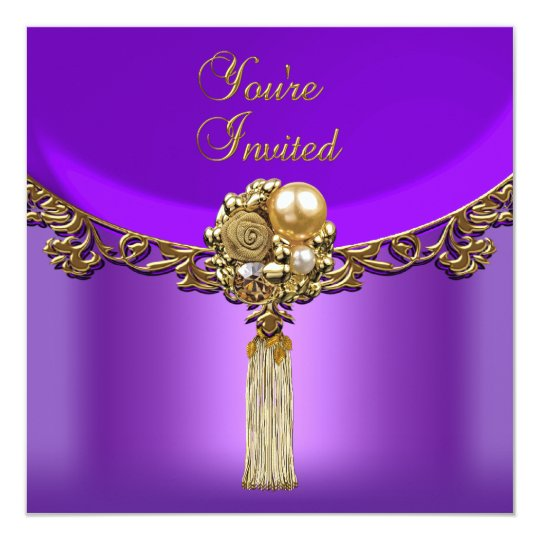 All Occasions Elegant Purple Gold Party Jewel Card