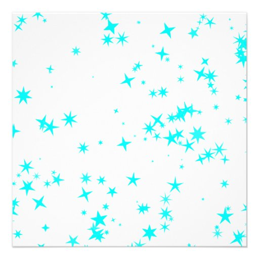 All Occasions Party Turquoise Blue Stars White Personalized Invite