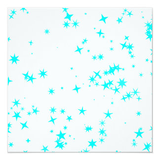 All Occasions Party Turquoise Blue Stars White 13 Cm X 13 Cm Square Invitation Card