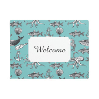 All Of The Sea Pattern | Add Your Text Doormat