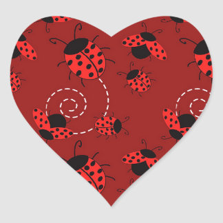 All Over Ladybug Design Print Heart Stickers