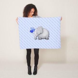 All-Over Name Cute Baby Elephant Nursery Fleece Blanket