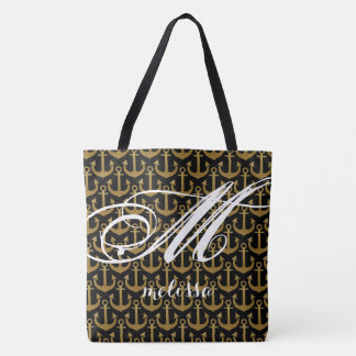 all-over-print black large tote bag with anchors