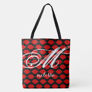 all-over-print black large tote bag with red lips