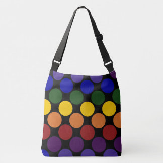 All-Over-Print Bold Rainbow Polka Dots on Black Crossbody Bag
