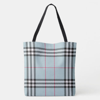 All Over Print Large Tote - Blue Plaid
