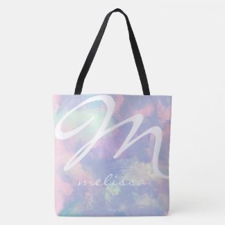 all-over-print lilac watercolor tote bag with name