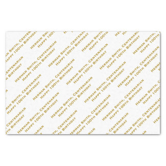 All-over Print Repeating Your Text - Gold/White Tissue Paper