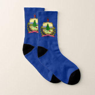 All Over Print Socks with Flag of Vermont 1