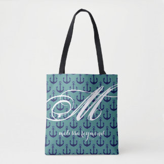 all-over-print teal tote bag with blue anchors
