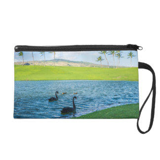 All Over Swans in Paradise Photography Print Wristlet
