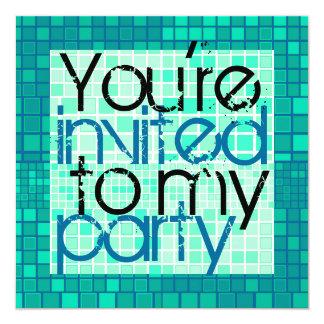 All Party Invitation Green Mosaic