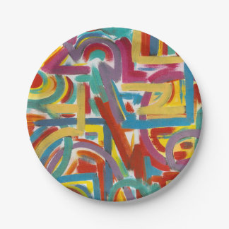 All Paths Go There-Hand Painted Brushstrokes Paper Plate