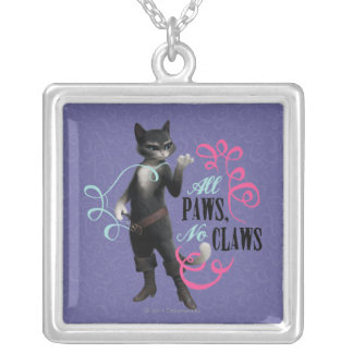 All Paws No Claws (color) Square Pendant Necklace