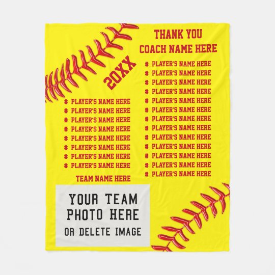 All Players Names Photo Softball Coach Gift Ideas Fleece Blanket Zazzle Co Uk