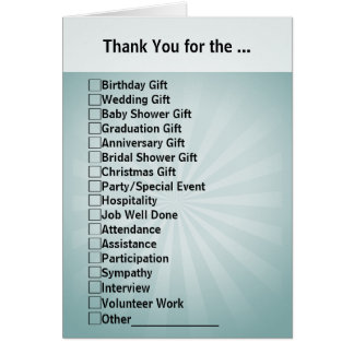 All-Purpose Checkbox Thank You Card