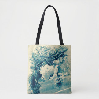 All-purpose tote with cherry blossom in blue