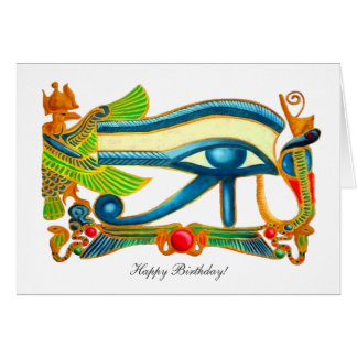 All Seeing Eye Of Horus - Happy Birthday Greeting Card
