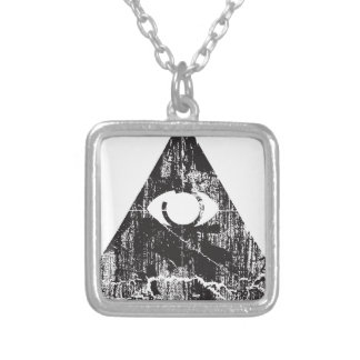 All Seeing Eye Square Pendant Necklace