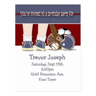 All Sports Birthday Invitation Template Postcard