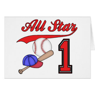 All Star Baseball 1st Birthday Invitations Note Card