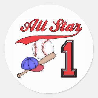 All Star Baseball 1st Birthday Round Sticker