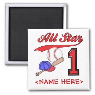 All Star Baseball 1st Birthday Square Magnet