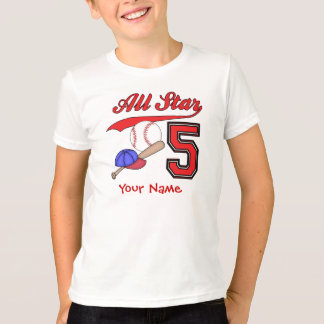 All Star Baseball 5th Birthday Personalized T-Shirt