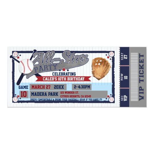 All Star Baseball Party Birthday Ticket Invitation