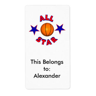 all star basketball shipping label