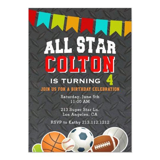 All Star Boys Sports Birthday Party Invitation