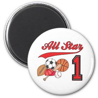 All Star Sports 1st Birthday 6 Cm Round Magnet
