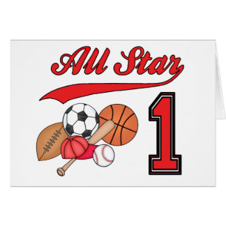 All Star Sports 1st Birthday Invitations Note Card