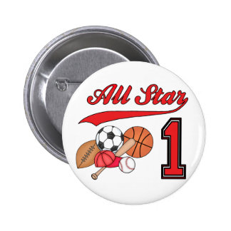 All Star Sports 1st Birthday Pinback Buttons