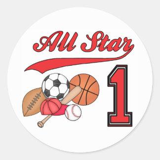 All Star Sports 1st Birthday Round Sticker
