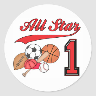 All Star Sports 1st Birthday Round Stickers
