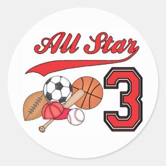 All Star Sports 3rd Birthday Classic Round Sticker