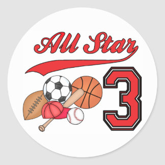 All Star Sports 3rd Birthday Round Sticker