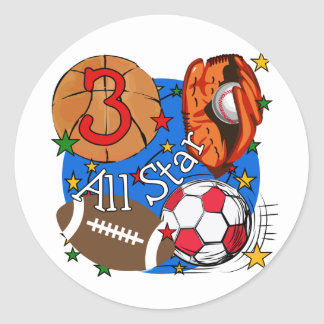 All Star Sports 3rd Birthday Tshirts and Gifts Round Sticker