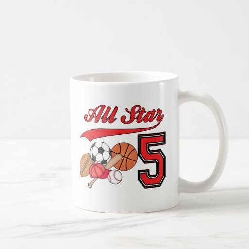 All Star Sports 5th Birthday Basic White Mug