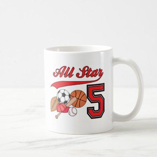 All Star Sports 5th Birthday Basic White Mug