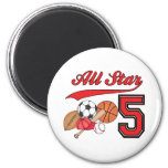 All Star Sports 5th Birthday Fridge Magnet